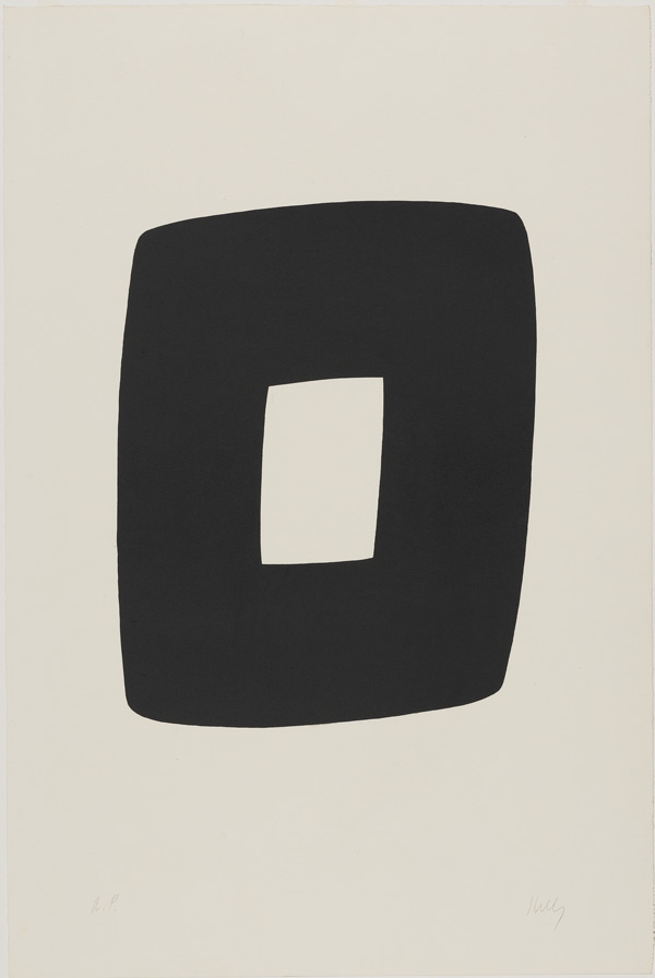 "Kelly's lithograph ""Black with White"" from 1964"