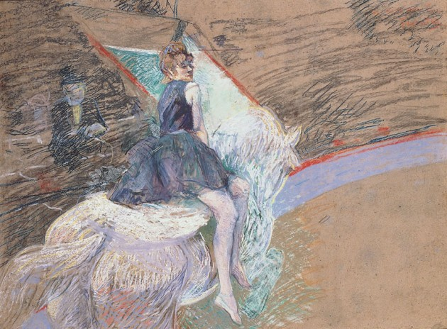 Toulouse-Lautrec's pastel and drained oil composition of a woman riding a white horse in an arena