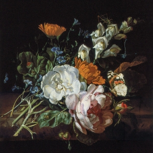 Ruysch's Nosegay on a Marble Plinth