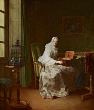 Chardin's c. 1753 genre painting of a woman teaching a caged bird to sing a tune