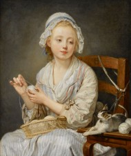 Grueze's c. 1759 genre painting of a young girl winding a ball of wool